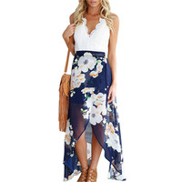 2017 Floral Chiffon Halter Split Backless Boho Dress Beach Style Deep V Neck Plus Size Hollow Out Spaghetti Strap Summer Dresses