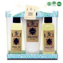 FDA approved bath gift set with shower gel /body lotion/ bubble bath