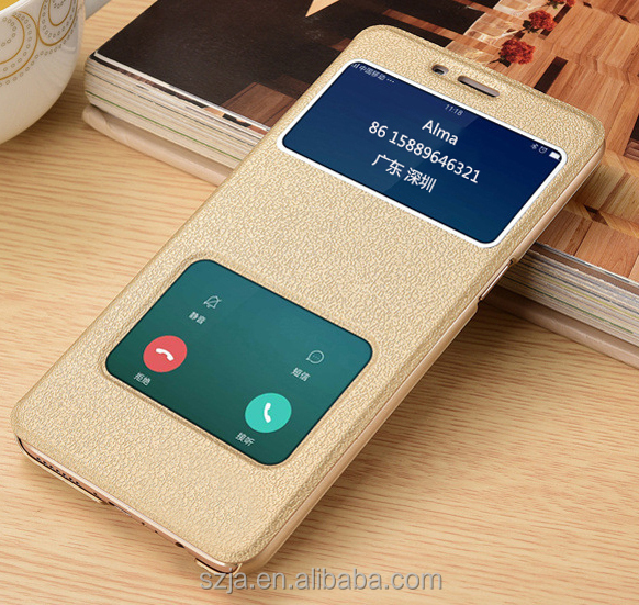 Hot sale phone cases stand leather flip cover window holster case for oppo a57