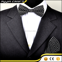 new fancy pretied bowtie and pocket square hankie in dots design