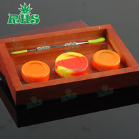In Exquisite wood and bamboo box package silicone jars dab wax container essential oil wood box for wax