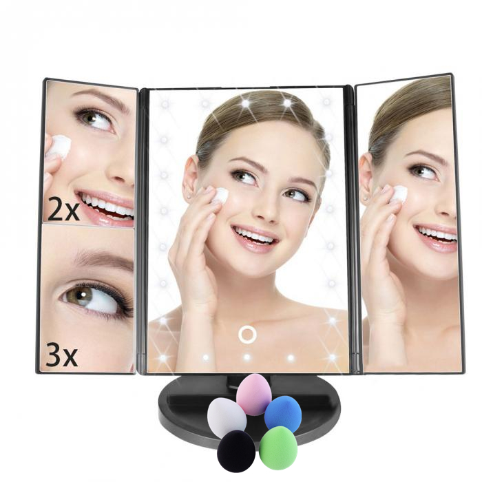 Bathroom beauty makeup lighting vanity make up mirror popular Makeup Mirror led foldable mirror