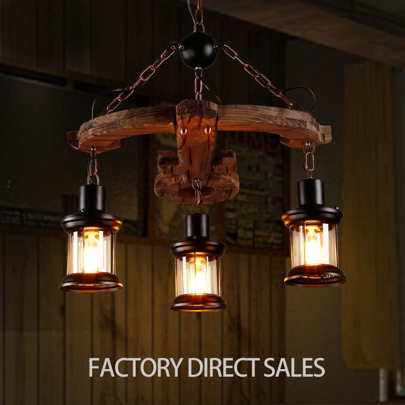 American industrial retro boat wood pendant lamp for Bar Cafe Restaurant