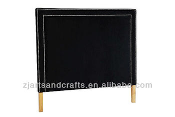 8008 bedroom head board ( birch wood/black velvet fabric/ two line-sliver studs)