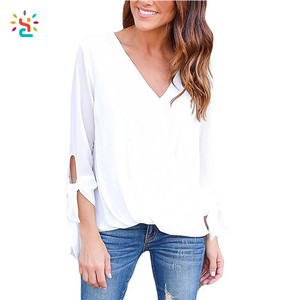 Personalized women's loose fit t-shirt long sleeve v-neck different colors oversized shirts