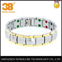 Nitrolube silver gold plated bead titanium magnetic pain relief therapy bracelet health jewelry