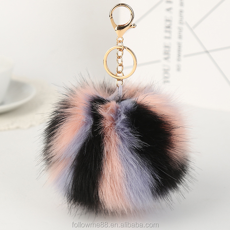 Fur Ball pom pom keychain Silver Plated Couples fluffy keychain With Colorful Fur ball