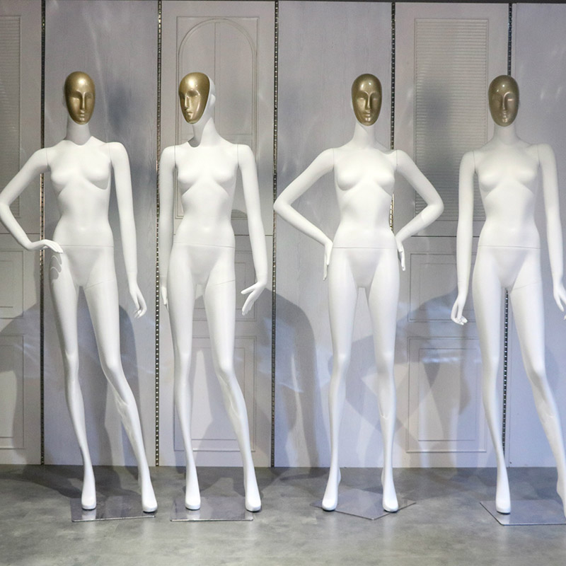 XINJI White Female Full Body Mannequin Gold Face Egg Head For Clothes Display