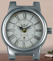SILVER WATCH SHAPE TABLE TOP DECORATIVE METAL CLOCK