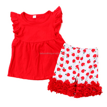 cheap baby clothes red tunic top apple print ruffle short set bulk wholesale kids clothing