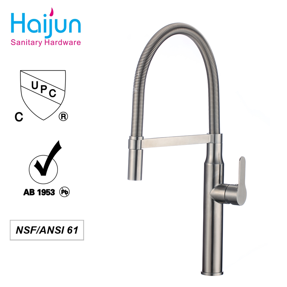 Modern Streamline Brushed Nickel Stainless Steel Sprayer Single Lever Single Handle Pull Out Sprayer Kitchen Sink Faucet