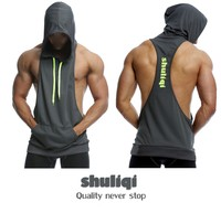 Fitness bodybuilding stringer tank top,two tone stringer tank top hood