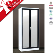 Powder coated sliding glass door steel almirah / modern steel almirah wardrobe design