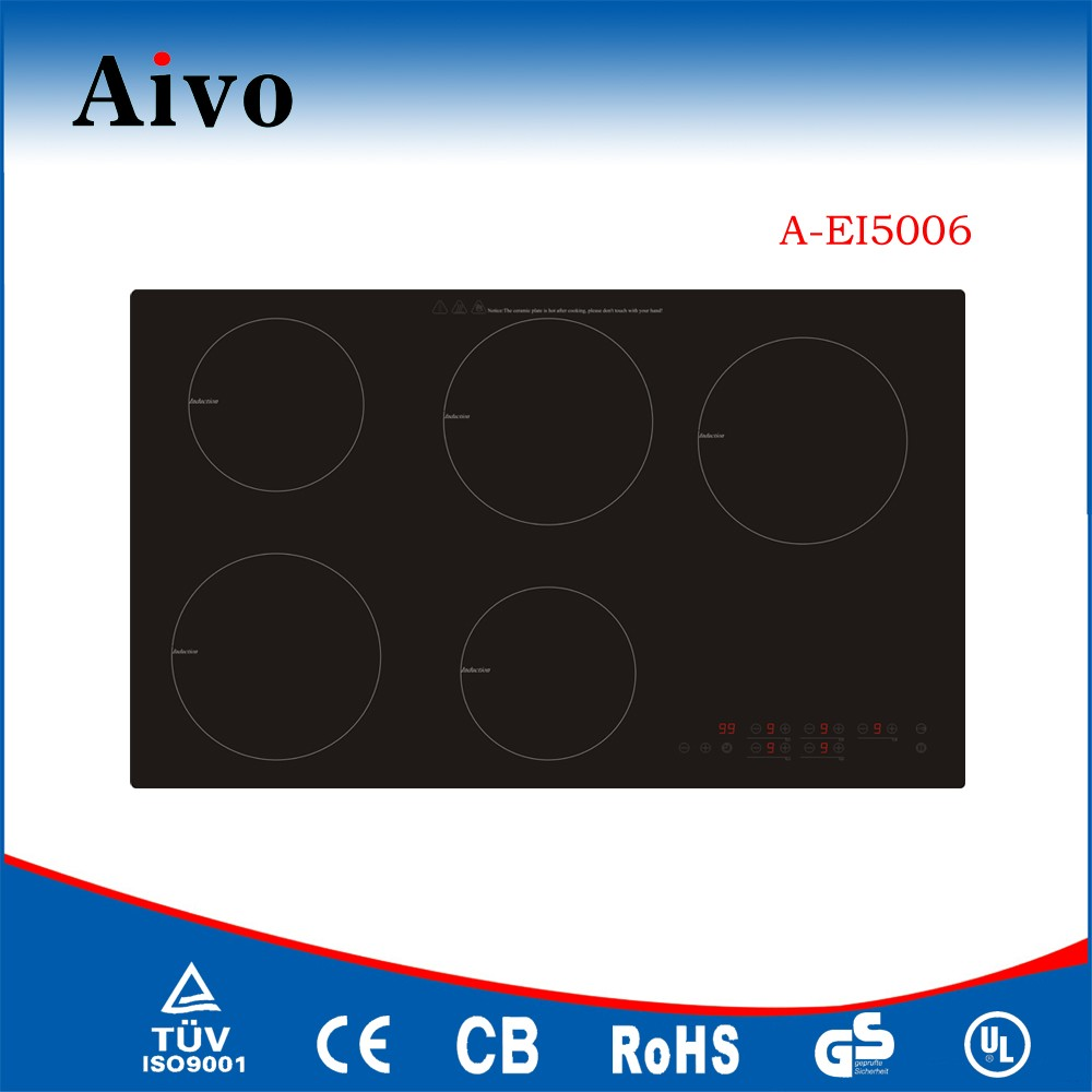 5 zones microcomputer schott ceran induction hob with slider control