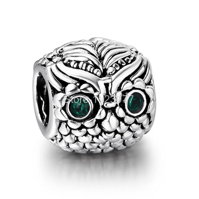Heart Diy Owl With Green Stone Eyes 925 Sterling Silver European Bead Charms Women Jewelry For Hot Snake Bracelet Bangle