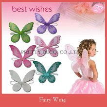 Glitter printing Cheap nylon butterfly wing and angel wings kids party costume