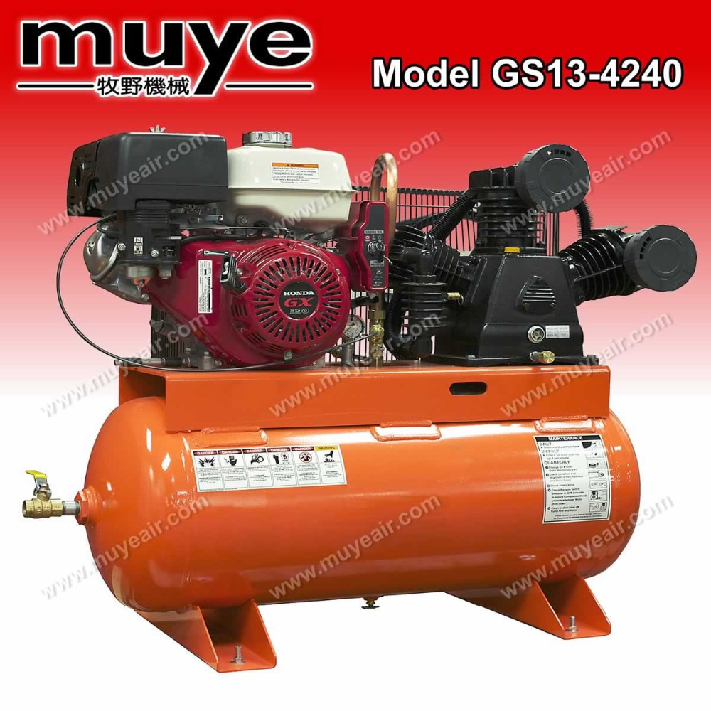 Electronic motor 3 cylinders 13hp gasonline piston air compressor model GS13-4240