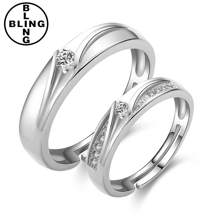 Newest Simple Diamond Design Wedding Silver Couple Rings