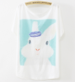 Hotsale ladies t-shirts rabbit design short sleeve woman fashion casual t shirt