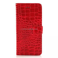 Factory stand magnet closure red cellphone crocodile leather case for iphone 6/6s
