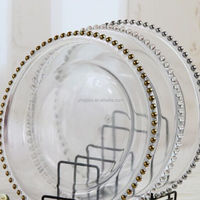Wholesale Cheap Wedding Clear Silver Gold Glass Beaded Charger Plates