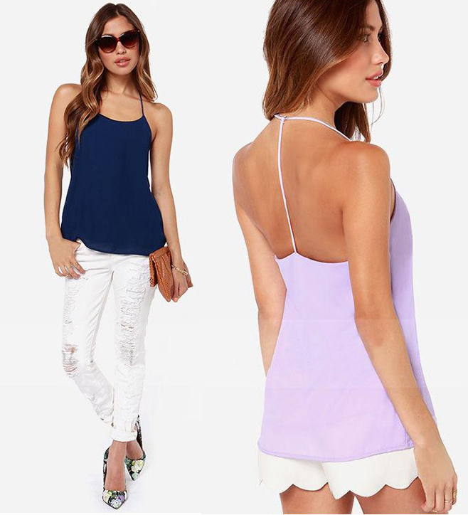 2015 Womens Chiffon Sexy Halter Cross Tops Halt Top Backless Fashion Classics Chemise Femme Brandy Melville