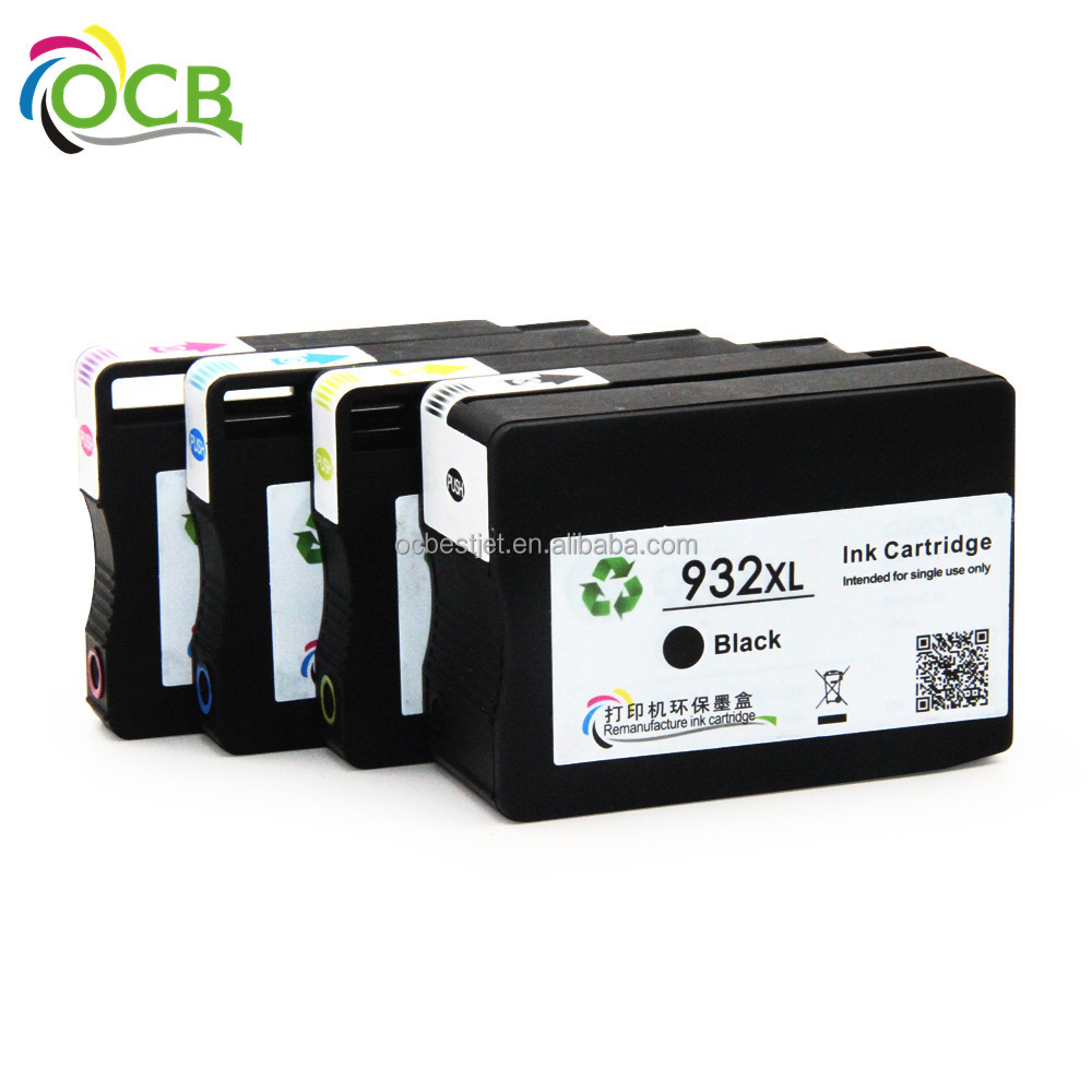 Ocbestjet Hot Selling For HP 932 933 Compatible Ink Cartridge with chip For HP Officejet 7612 7610 7510 7512 Printer