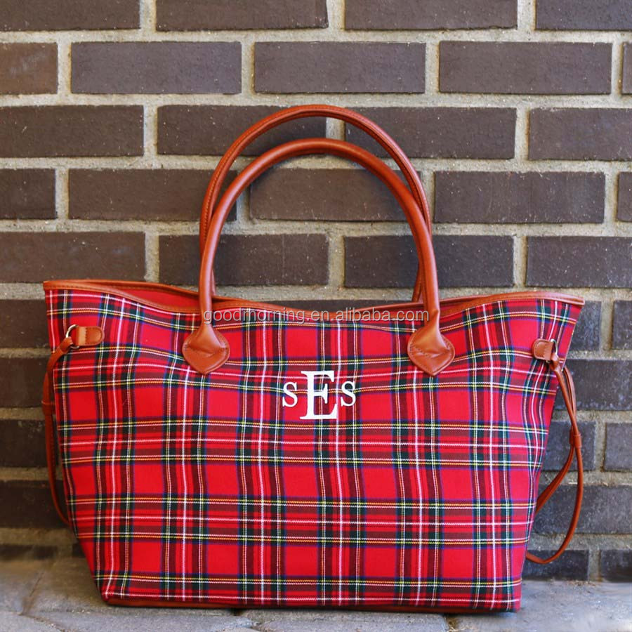 Personalized Plaid Monogram Tote