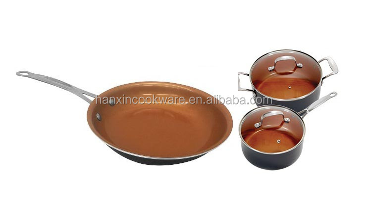 Aluminum copper ceramic coating Titanium fry pan with stainless steel handle as seen on tv cookware