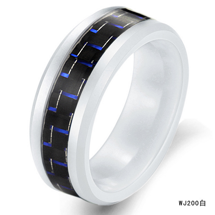 factory wholesale good Price unisex jewelry white ceramic carbon fiber wide finger <strong>ring</strong>