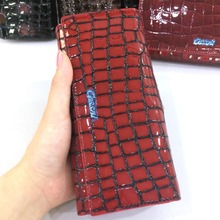 New Design Stone Pattern Genuine Cowhide Patent Leather Wallet For Ladies