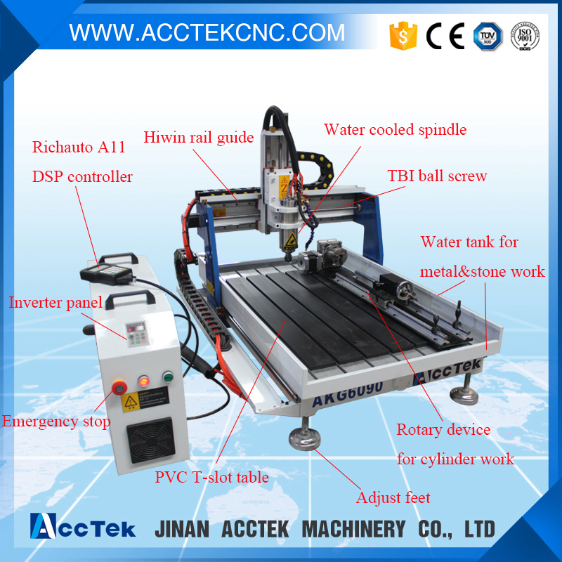 Hot sale cnc router 6090 4axis for hobby/ badges cnc engraving machine