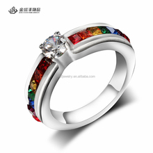 Stainless Steel Gay Pride Rainbow Engagement Ring with Beautiful Stone