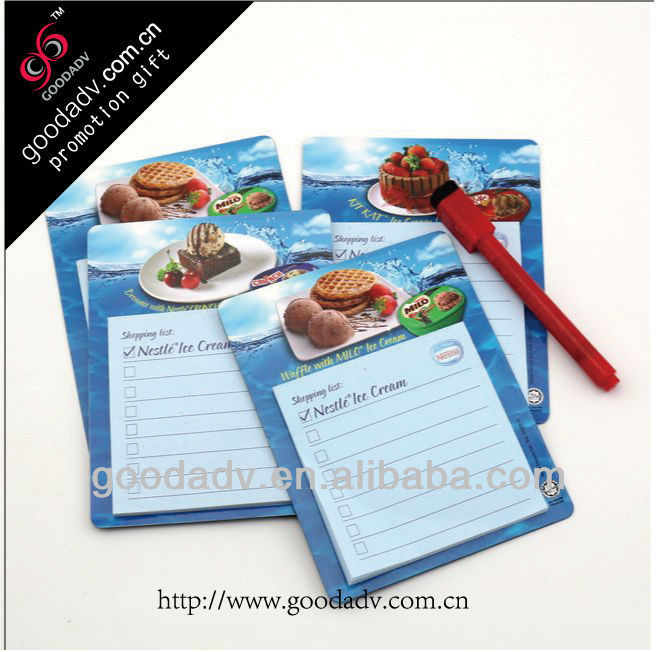 Hot selling Ice cream promotional gifts magnetic note pad