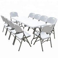 cheap mesas for sale High quality HDPE white folding portable rectangle 10 seater camping picnic garden plastic outdoor table