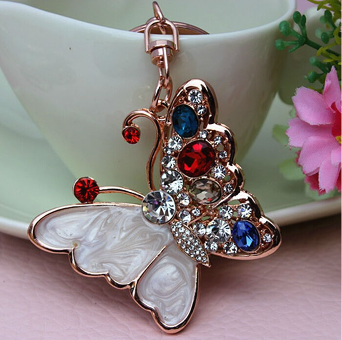 New Arrival Colorful Crystal Rhinestones Butterfly Keychain Metal Keyring Gifts Bag Hangers Decoration Hangers