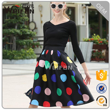 New design dress with colorful polka dots casual dress clothing