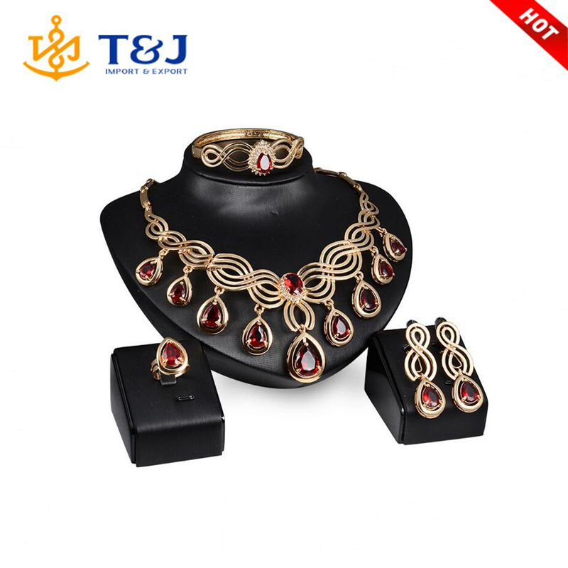 2016 wholesale African bridal jewelry gold plated red crystal necklace and earrings sets Dubai wedding jewelry sets