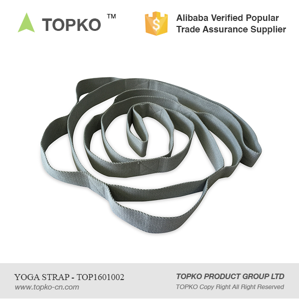 Wholesale TOPKO Private Label Cotton/Polyester Yoga Stretching Strap With 10 Loops