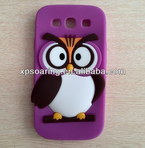 Mobile phone silicone case for Samsung Galaxy S3, owl cover for Samsung I9300