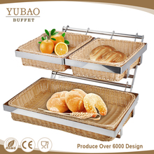 2 tier bread fruit basket display rattan bread display rack/ stand, bread basket shelf