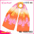 Polyester Chiffon Printed Yellow Spring Summer Scarf