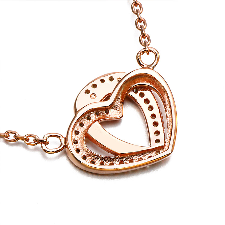 Custom double heart cz micro paved rose gold filled s925 sterling silver pendant necklace women jewelry fashion necklace