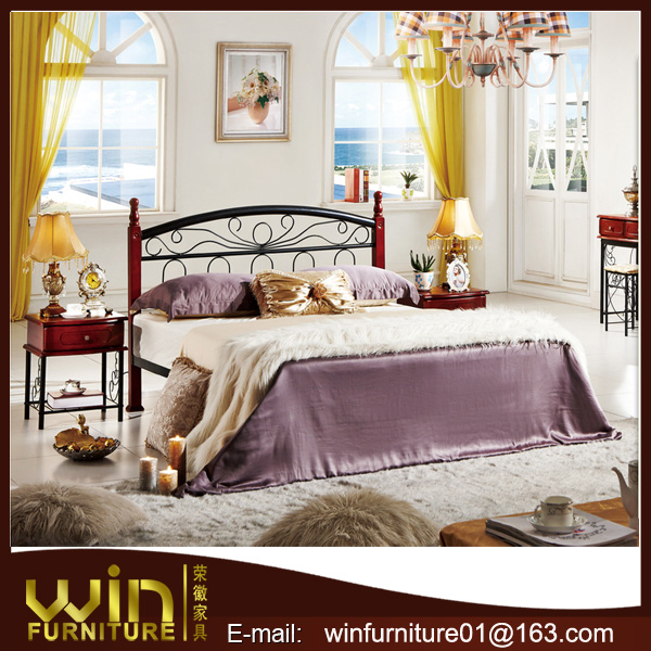 metal frame latest double bed designs for Arabic