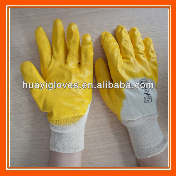 Interlock Cotton Nitrile Dipped Gloves For Industry Work HYM281