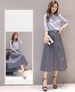 Latest Office ladies two sets dress blue and white newest OL work wear fashion design 2017