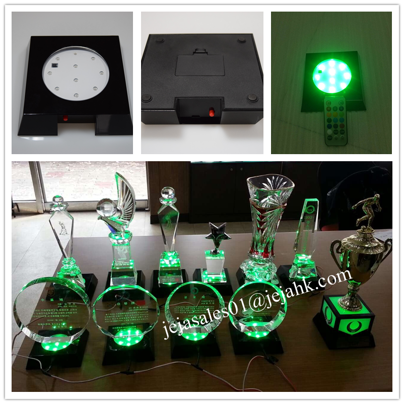 acrylic display Led light base <strong>crystal</strong> 3d laser for trophy cup