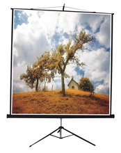 "70""x70"" 1:1 portable tripod projection screen, projector screen with round tripod"