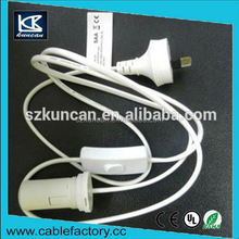 OEM/ODM 250V UK/US/SAA power cable + inline swtich led under cabinet lights +bulb holder for lamp with