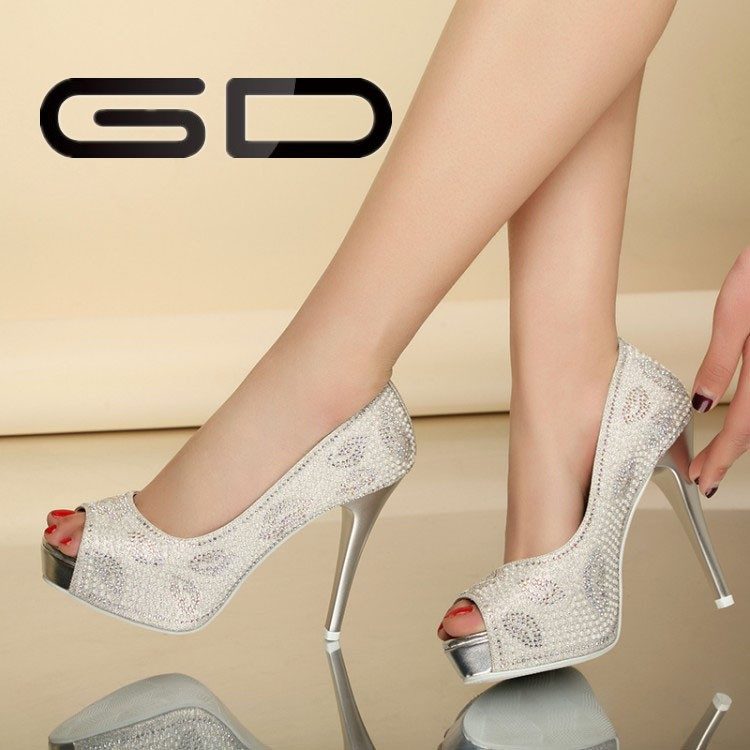 2015 Glitter Gorgeous Wedding Bridal Evening Party Crystal open toe High Heels Women Shoes Sexy Woman Pumps Fashion Bridal Shoes
